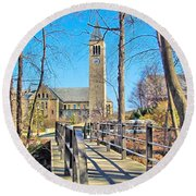 View To Mcgraw Tower Round Beach Towel