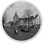 Round Beach Towel featuring the photograph View To The Bosch Street In Maastricht by Nop Briex