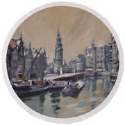 View To The Mint Tower Amsterdam Round Beach Towel by Nop Briex