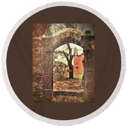 View To The Past Round Beach Towel