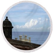 View To The Sea From El Morro Round Beach Towel