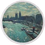 View To Westminster London Round Beach Towel