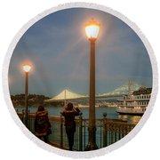 Viewing The Bay Bridge Lights Round Beach Towel