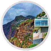 Viewpoint Over Camara De Lobos Madeira Portugal Round Beach Towel