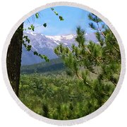 Round Beach Towel featuring the photograph Views Of Katahdin by Robin Regan