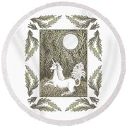 Vigilant Unicorn Round Beach Towel