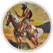 Round Beach Towel featuring the painting Vigilante Apache by Al Brown