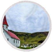 Vik Church And Cemetery - Iceland Round Beach Towel
