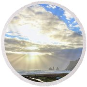Vik Iceland Sunrays 7028 Crop Round Beach Towel