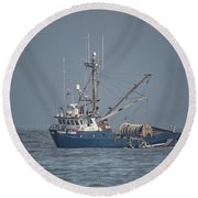 Round Beach Towel featuring the photograph Viking Fisher 4 by Randy Hall