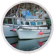 Round Beach Towel featuring the photograph Viking Maid by Randy Hall