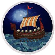 Viking Ship Round Beach Towel