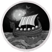 Viking Ship_bw Round Beach Towel