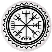 Round Beach Towel featuring the digital art Viking Vegvisir Protection Compass by Vagabond Folk Art - Virginia Vivier