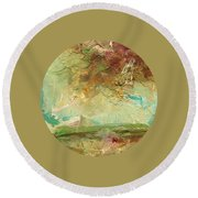 Round Beach Towel featuring the painting Villa by Mary Wolf