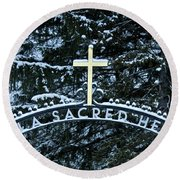 Round Beach Towel featuring the photograph Villa Sacred Heart Winter Retreat Golden Cross by John Stephens