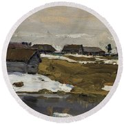 Village By The Water In Winter Round Beach Towel
