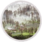 Village Covered With Mist Round Beach Towel