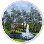 Village Fountain Round Beach Towel