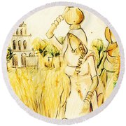 Punjabi Village Girls  Round Beach Towel