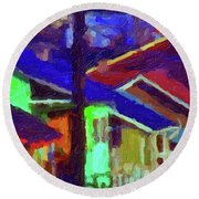 Village Houses Round Beach Towel