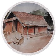 Village Hut Round Beach Towel