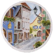 Round Beach Towel featuring the painting Village In Alsace by Mary Ellen Mueller Legault