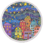 Village Lights Round Beach Towel