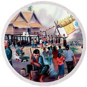 Village Rocket Festival-vintage Painting Round Beach Towel by Ian Gledhill
