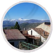 Village Rooftops Round Beach Towel by Judy Kirouac