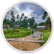 Round Beach Towel featuring the photograph Village Scene by Charuhas Images