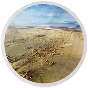 Village Toward Amu Darya River Round Beach Towel