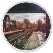 The Village Train Station Round Beach Towel