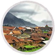 Round Beach Towel featuring the photograph Village View by Charuhas Images