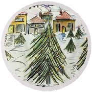 Village Winter Wonderland Round Beach Towel