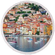 Villefranche-sur-mer On French Riviera Round Beach Towel by Elena Elisseeva