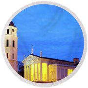 Round Beach Towel featuring the photograph Vilnius Cathedral by Fabrizio Troiani