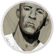 Vin Diesel Round Beach Towel