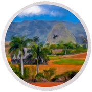 Vinales Valley. Cuba Round Beach Towel