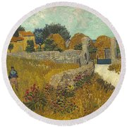 Vincent Van Gogh, Farmhouse In Provence Round Beach Towel