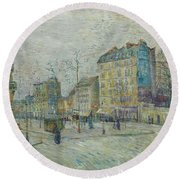 Vincent Van Gogh  The Boulevard De Clichy, Paris Round Beach Towel
