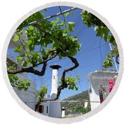 Round Beach Towel featuring the photograph  Vine And Geranium - Pampaneira by Phil Banks
