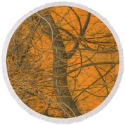 Vine Wood Abstract Round Beach Towel