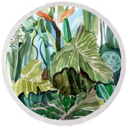 Vines Round Beach Towel by Mindy Newman