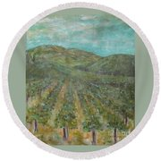 Vineyard #2 Round Beach Towel