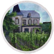 Vineyard Along The Alsace Trail Round Beach Towel