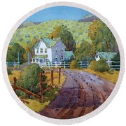 Vineyard Farm In Cambria Round Beach Towel
