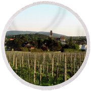 Vineyard In Austria Round Beach Towel