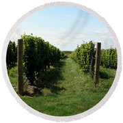 Vineyard On The Peninsula Round Beach Towel