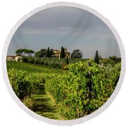 Round Beach Towel featuring the photograph Vineyard View by Jean Haynes